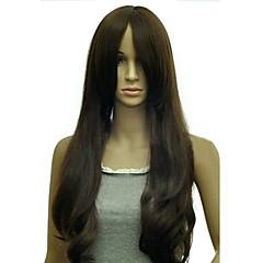 billiga Peruker och hårförlängning-Syntetiska peruker Rak Med lugg Syntetiskt hår 23 tum Med Bangs Peruk Dam Utan lock Svart