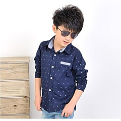 baratos Roupas de Meninos-Infantil Sólido Manga Longa Padrão Camisa Bege
