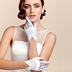 cheap Party Gloves-Polyester Satin Wrist Length Glove Classical Bridal Gloves Party/ Evening Gloves With Solid