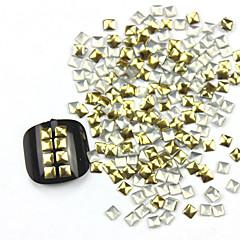 300PCS 3D Golden Square Alaşım Nail Art Altın ve Gümüş takıları