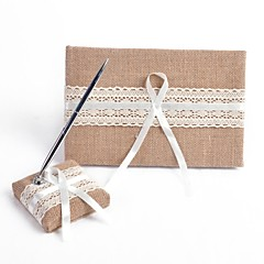 cheap Guest Book & Pen Sets-Guest Book Pen Set Linen Garden ThemeWithBowknot Ribbons Pen Set Guest Book