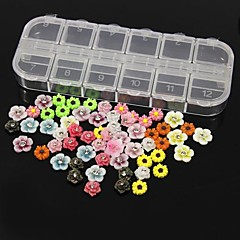 60pcs 12 tasarım rastgele akrilik reçine çiçek set tırnak sanat dekorasyon