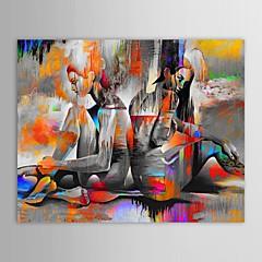 Kézzel festett Emberek Vízszintes,Modern Egy elem Vászon Hang festett olajfestmény For lakberendezési