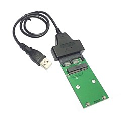 "USB 2.0 to Mini PCI-E mSATA SSD to 1.8"" Micro SATA 7+9 16pin Adapter Add on Cards PCBA for SSD Hard Disk"
