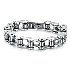 cheap Men's Jewelry-Men's Stainless Steel Chain Bracelet - Personalized Unique Design Punk Jewelry Silver Silver / Black Bracelet For Wedding Party Daily