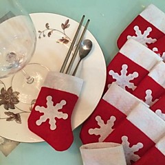 6stk / sæt jul sne strømpe bestik bordservice holder dekoration