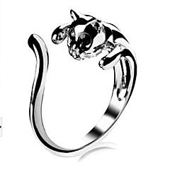 Χαμηλού Κόστους Ασημένιο Δαχτυλίδι-Γυναικεία Δακτύλιος Δήλωσης Δέσε Ring - Κράμα Γάτα, Ζώο Εξατομικευόμενο, Love, χαριτωμένο στυλ 8 Ασημί Για Γάμου Πάρτι Δώρο