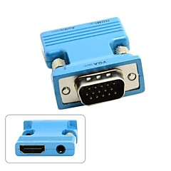 cheap -HDMI Female to VGA Male & Audio Output Adapter for PC Laptop Macbook Projector Monitor Blue/Golden