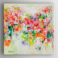 Kézzel festett Absztrakt Négyzet,Klasszikus Rusztikus Egy elem Vászon Hang festett olajfestmény For lakberendezési