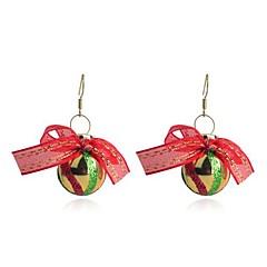 lureme fashion moffelen vernis kerstbal-vormige bundel van gekleurde zijden linten legering oorbellen