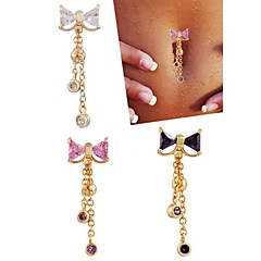 Women's Body Jewelry Navel Rings/Belly Piercing Stainless Steel Zircon Cubic Zirconia Unique Design Fashion Jewelry White Purple Pink