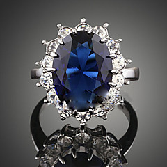 billige Motering-Dame Krystall Syntetisk safir Statement Ring - Kubisk Zirkonium, Legering Mote, flettet En størrelse Mørkeblå Til Fest