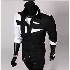 メンズ シャツ,シンプル シャツカラー カラーブロック コットン 長袖
