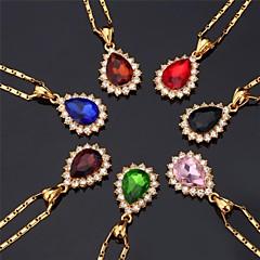 halpa -Naisten Circle Shape Muoti Choker-kaulakorut Riipus-kaulakorut Synteettinen timantti Synteettiset jalokivet Tekojalokivi Gold Plated