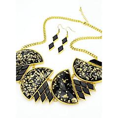 baratos Conjuntos de Bijuteria-2014 traje mais recente projeto original da colar de pedras preciosas robusto preto e brincos conjunto de jóias