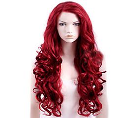 baratos Perucas Sintéticas-Perucas sintéticas Parte lateral Vermelho Peruca Mulheres Longo
