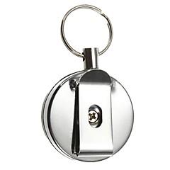 Key Chain サーキュラー 高品質 Key Chain / 引き込み式 ピンク ステンレス