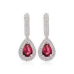 White Gold Plated Water Drop Earrings Micro Pave Sparkling Cubic Zircon Long Dangle Earrings (More Colors)