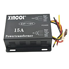 xincol® 차량 자동차 직류 12V의 15A 전원 공급 장치 변압기에 24V 컨버터 블랙
