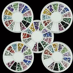 5x1800pcs kynsikoristeet tekojalokivi glitter pyöreä mix 12 väri 1.5mm Nail art deco kiiltää helmiä