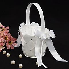 olcso -virágkosár fehér szatén masni virágáruslány kosár