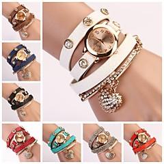 baratos Relógios Femininos-Mulheres Quartzo Bracele Relógio Venda imperdível Couro Banda Brilhante Heart Shape Preta Branco Azul Vermelho Laranja Verde Rosa Roxa