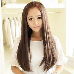 billiga Peruker och hårförlängning-Syntetiska peruker Rak Asymmetrisk frisyr Syntetiskt hår 25 tum Värmetålig Brun Peruk Dam Lång Utan lock Ask Brun
