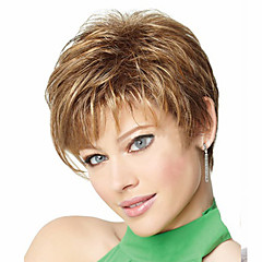 cheap Wigs & Hair Pieces-Synthetic Wig Women's Straight / Curly Blonde Asymmetrical Synthetic Hair 4 inch Natural Hairline Blonde Wig Short Capless Light Brown