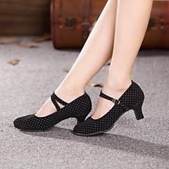 Žene Moderna obuća / Standardni Brušena koža Štikle Kubanska potpetica Nemoguće personalizirati Plesne cipele Crna / Fuksija