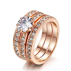 billige Motering-Dame Krystall Stable Statement Ring / Ringer Set - Fuskediamant 7 / 8 / 9 Til Bryllup / Fest / Daglig