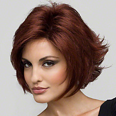 cheap Wigs & Hair Pieces-Synthetic Wig Women's Straight / Curly Red Layered Haircut Synthetic Hair 8 inch Natural Hairline Red Wig Short Capless Red Wine