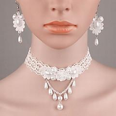 baratos Conjuntos de Bijuteria-Mulheres Pérola Conjunto de jóias - Pérola, Imitação de Pérola, Renda Fashion Incluir Branco Para Casamento / Casual / Resina / Brincos / Colares