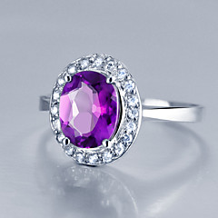 cheap Rings-Women's Sterling Silver Ring with Amethyst More Sizes  SA0002R