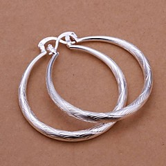 Simple Wavy Circle 925 Silver Drop Earrings(2Pc)