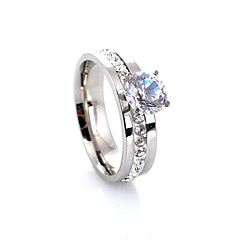 Women's Band Rings Love European Luxury Fashion Synthetic Gemstones Crystal Imitation Diamond Alloy Four Prongs Jewelry For Wedding Party