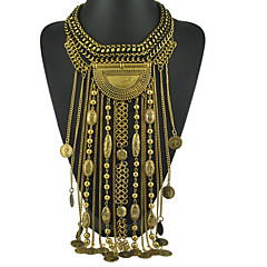 Ethnic Jewelry Long Tassel Caving Beads Coin Statement Necklace Antique Silver and Gold Color Gift for Girl