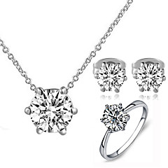 baratos Conjuntos de Bijuteria-Mulheres Cristal Conjunto de jóias - Cristal, Zircônia Cubica, Imitações de Diamante Clássico Incluir Conjuntos de anéis Para Casamento / Festa / Diário