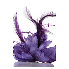 cheap Party Headpieces-Purple Feather Flower Fascinators for Wedding/Party Headpiece