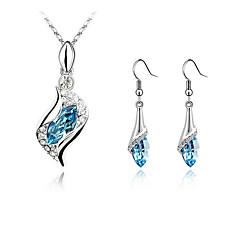 baratos Conjuntos de Bijuteria-Mulheres Roxo Azul Verde Cristal Conjunto de jóias - Incluir Verde / Azul / Azul Claro Para Casamento Festa Noivado