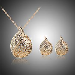 tanie Zestawy biżuterii-Damskie Kryształ Kryształ Kryształ górski Posrebrzany Pokryte różowym złotem Serce Biżuteria Ustaw Zawierać - Ślubny Duże Kryształ