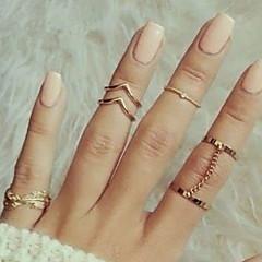 Midi-sormukset Kokosormen sormus Muoti Metalliseos Leaf Shape Kulta Hopea Korut Varten Party Päivittäin 1set