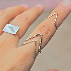 Anéis Fashion Pesta Jóias Liga Feminino Anéis Meio Dedo 1conjunto,Tamanho Único Prateado
