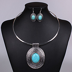 Women's Jewelry Set Drop Earrings Pendant Necklaces Vintage Fashion Statement Jewelry Turquoise Alloy Oval Necklaces Earrings Necklace For