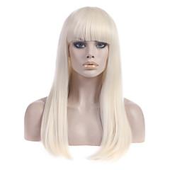 billiga Peruker och hårförlängning-Syntetiska peruker Rak Blond Med lugg Syntetiskt hår Med Bangs Blond Peruk Dam Lång Utan lock Blekt Blont StrongBeauty