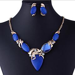 baratos Conjuntos de Bijuteria-Resina Conjunto de jóias - Strass, Imitações de Diamante Luxo, Vintage, Festa Incluir Azul Para Festa / Brincos / Colares
