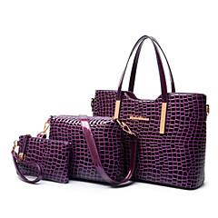 Mulheres Bolsas Couro Envernizado / PU Tote / Bolsa de Ombro / Conjuntos de saco 3 Pcs Purse Set Sólido Preto / Roxo / Vermelho