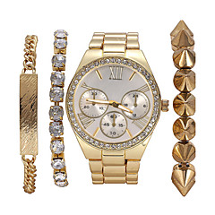 Fashion Bracelet Watch Sets Crystal Pearl Rivet Female Watches Gift Idea  4Pcs/Set Cool Watches Unique Watches Strap Watch