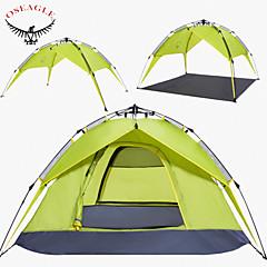 OSEAGLE 3-4 사람 텐트 더블 베이스 캠핑 텐트 원 룸 자동 텐트 수분 방지 통풍 잘되는 방수 방풍 자외선 방지 비 방지 통기성 용 수렵 하이킹 피싱 바닷가 캠핑 여행 야외 >3000mm CM