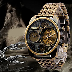 cheap Men's Watches-Oulm Men's Quartz Wrist Watch / Military Watch Dual Time Zones Stainless Steel Band Luxury Black / Bronze / Rose Gold