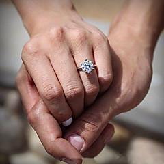 Anéis Casamento / Pesta / Diário Jóias Prata Chapeada Feminino Anéis Grossos / Anéis Statement 1pç,7 / 8 / 9 Transparente